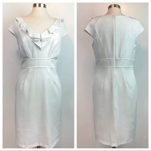 VINTAGE White Knit Dress w Ruffled Neckline Sz 10